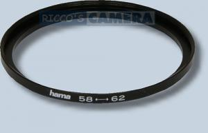 Filteradapter 58 - 62 mm ( Objektiv 58mm / Filter 62mm ) - Step Up Ring Anschlussring Adapterring Hama 15862