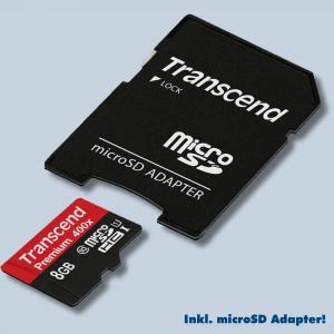 Transcend 8GB Class 10 MicroSDHC UHS-I 400x TransFlash Micro SDHC Card Speicherkarte Trans Flash SDHC-Karte 8 GB Klasse 10 - 1