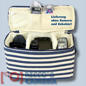 maritime Kameratasche für Olympus Stylus SP-100EE - Fototasche in blau weiß Tasche K-50 k50 - 2