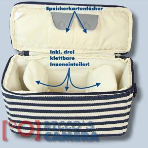 maritime Kameratasche für Olympus Stylus SP-100EE - Fototasche in blau weiß Tasche K-50 k50 - 3