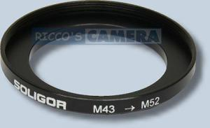 Filteradapter 43 - 52 mm ( Objektiv 43mm / Filter 52mm ) - Anschlussring Adapterring Step Up Ring Soligor 57920