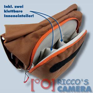 Fototasche für Sony Alpha A6500 A6300 A5100 A3000 - Kameratasche in braun orange mit extra Tabletfach Notebook-Tasche dumo - 2