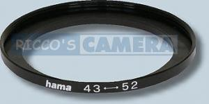 Filteradapter 43 - 52 mm ( Objektiv 43mm / Filter 52mm ) Step Up Ring Anschlussring Adapterring Hama  14352