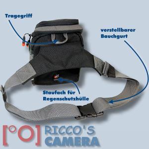 Dörr No-Limit Hüfttasche schwarz Fototasche für kompakte Digitalkamera Systemkamera Tasche mit Regenhülle und Bauchgurt hnls - 1