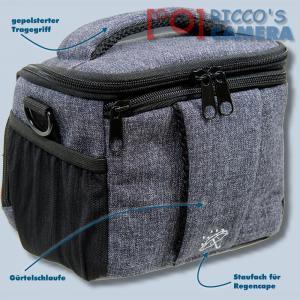 Braun Alpe M Denim Kameratasche für Systemkameras Bridgekamera Fototasche in blau Tasche mit Regencape bamd - 1