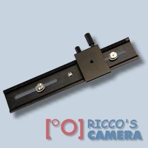 Quenox/Fotomate LP-02 Makro-Einstellschlitten (Makroschlitten, Kameraschlitten, Fotoschlitten, Makroschiene) - Verstellweg 24cm - 1