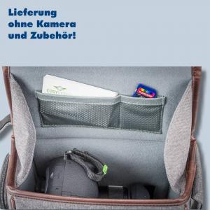 Cosyspeed Kameratasche mit Hüftgürtel Camslinger Streetomatic+ Fototasche für System- und DSLR-Kameras + Zoomobjektiv braun-grau - 1