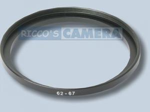 Filteradapter 62 - 67 mm ( Objektiv 62mm / Filter 67mm ) - Step Up Ring Anschlussring Adapterring