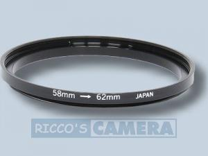 Filteradapter 58 - 62 mm ( Objektiv 58mm / Filter 62mm ) - Step Up Ring Anschlussring Adapterring