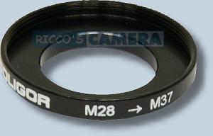 Filteradapter 28 - 37 mm  ( Objektiv 28mm / Filter 37mm ) - Step Up Ring Anschlussring Adapterring Soligor 57928